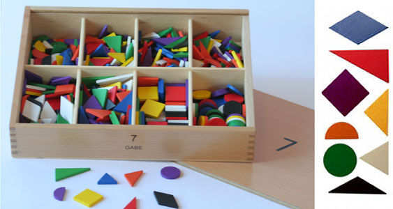 Fröbel's Gift 7, parquetry, also comes in paper tablets, which I like better. I ditch the booklet.