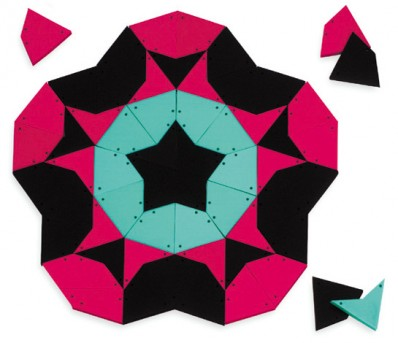 kites & darts are two different shaped pieces, also called Penrose tiles