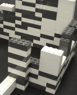Lego bricks 2 x 4 in white and light gray; again two colors; I like two tones, so light gray and dark gray would even be better; order online