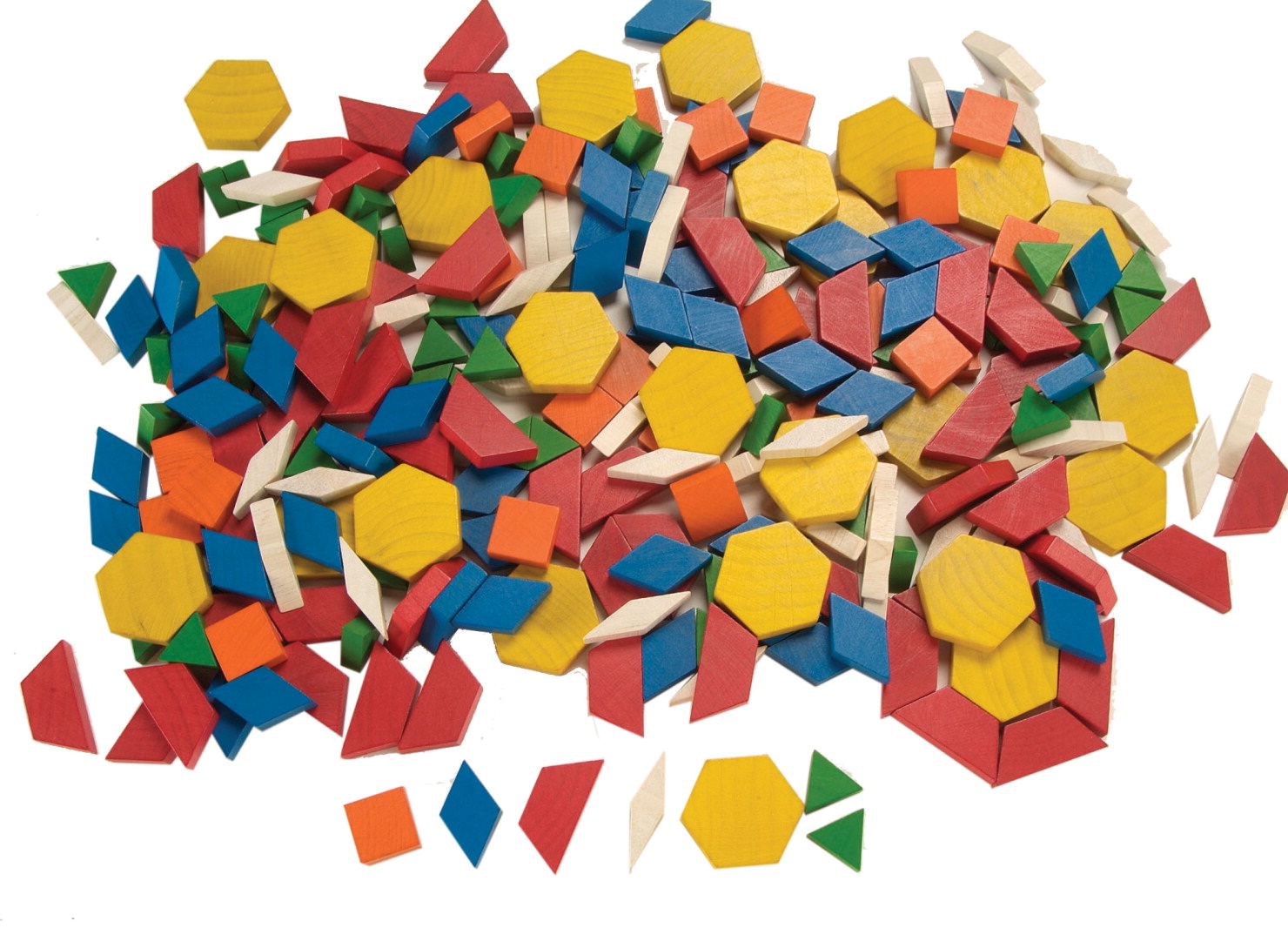 pattern blocks, at least 1000, wood ones can stand on their edge better
