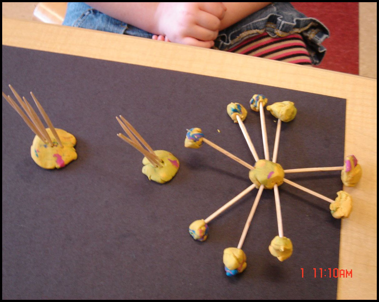 Fröbel's Gift 10, the framework, expands into three dimensions; toothpicks and pea-sized balls of modeling clay works