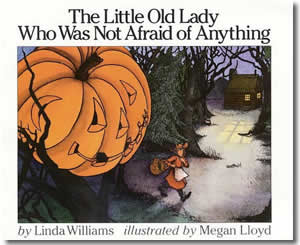 Once upon a time, there was a little old lady who was not afraid of anything! But one autumn night, while walking in the woods, the little old lady heard . . . clomp, clomp, shake, shake, clap, clap. And the little old lady who was not afraid of anything had the scare of her life!